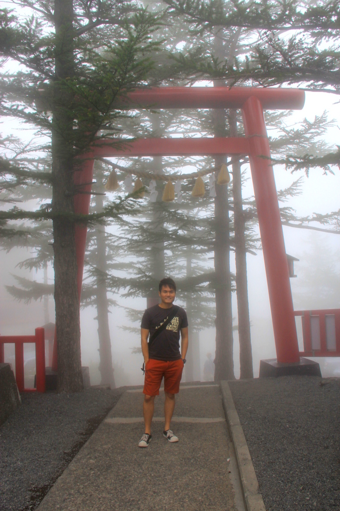 Misty at the top of Mount Fuji, Japan