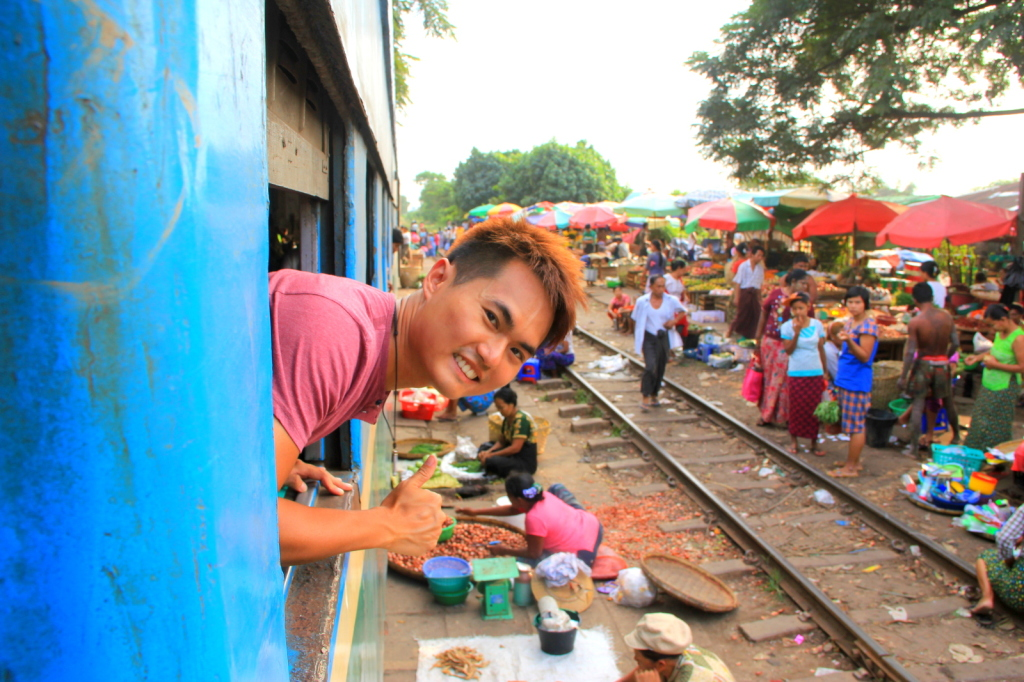 Marketing at the train track in Myanmar