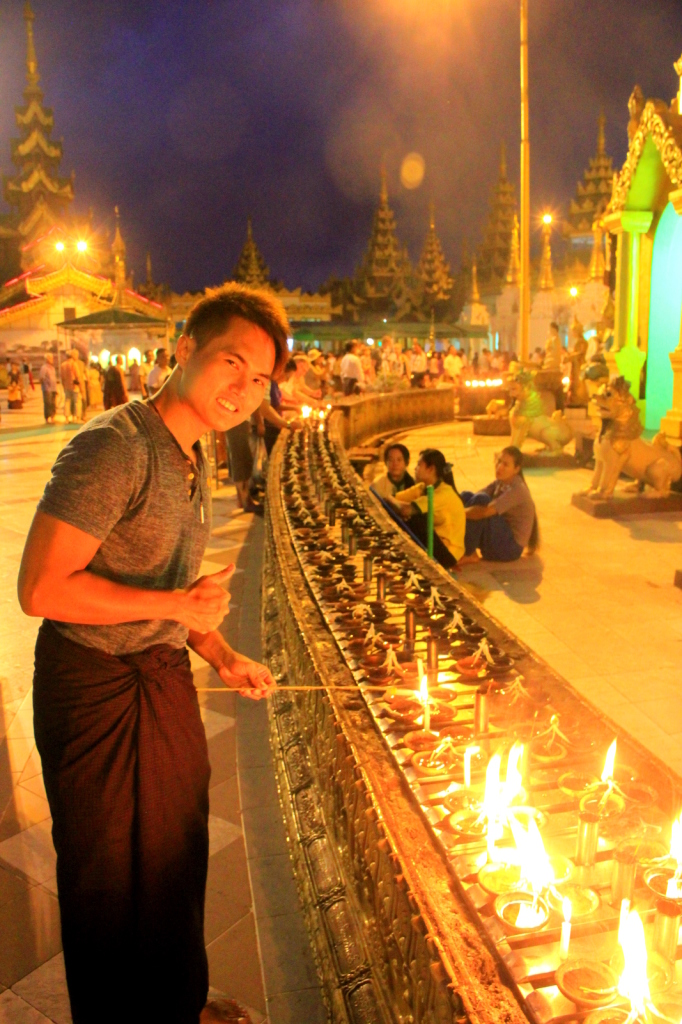 The lamp lighting ceremony at Shwedagon Pagoda