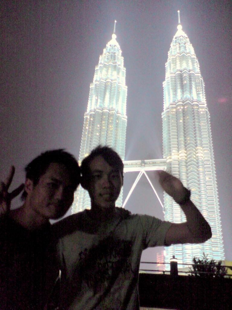 With the beautiful Petronas Tower, Kuala Lumpur, Malaysia