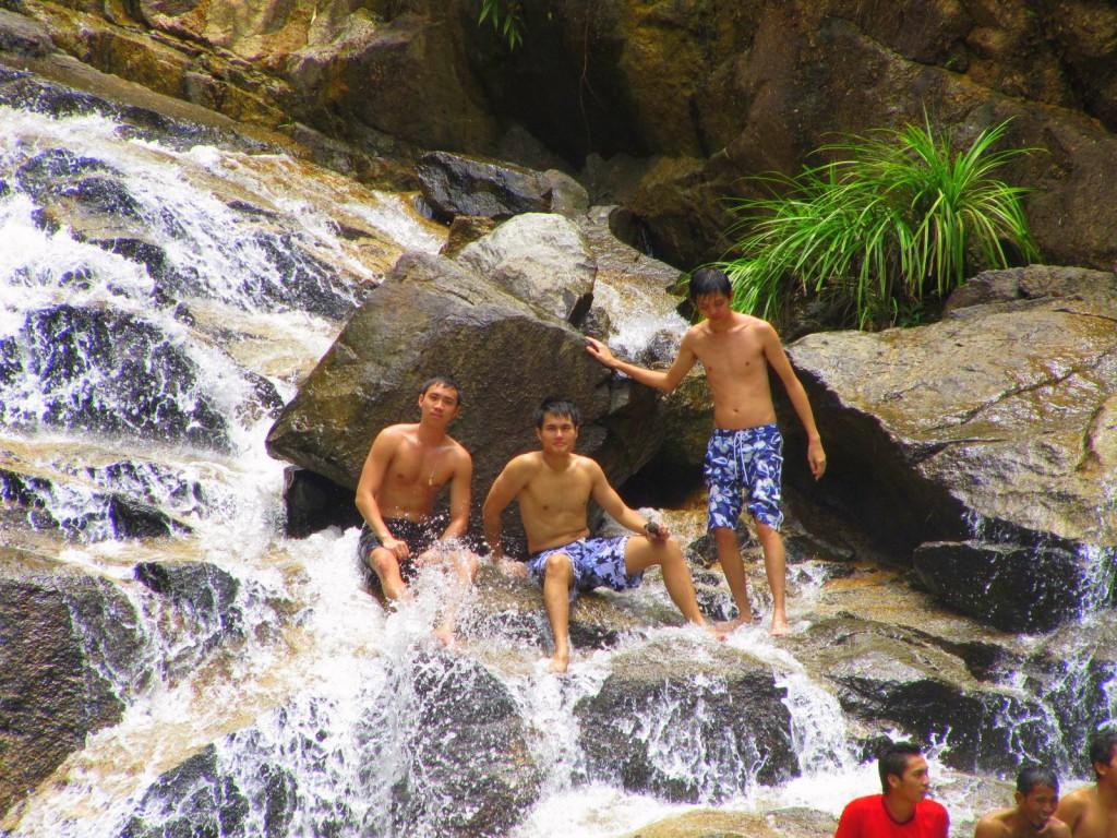 Bathing at the rapids of Pahang, Malaysia