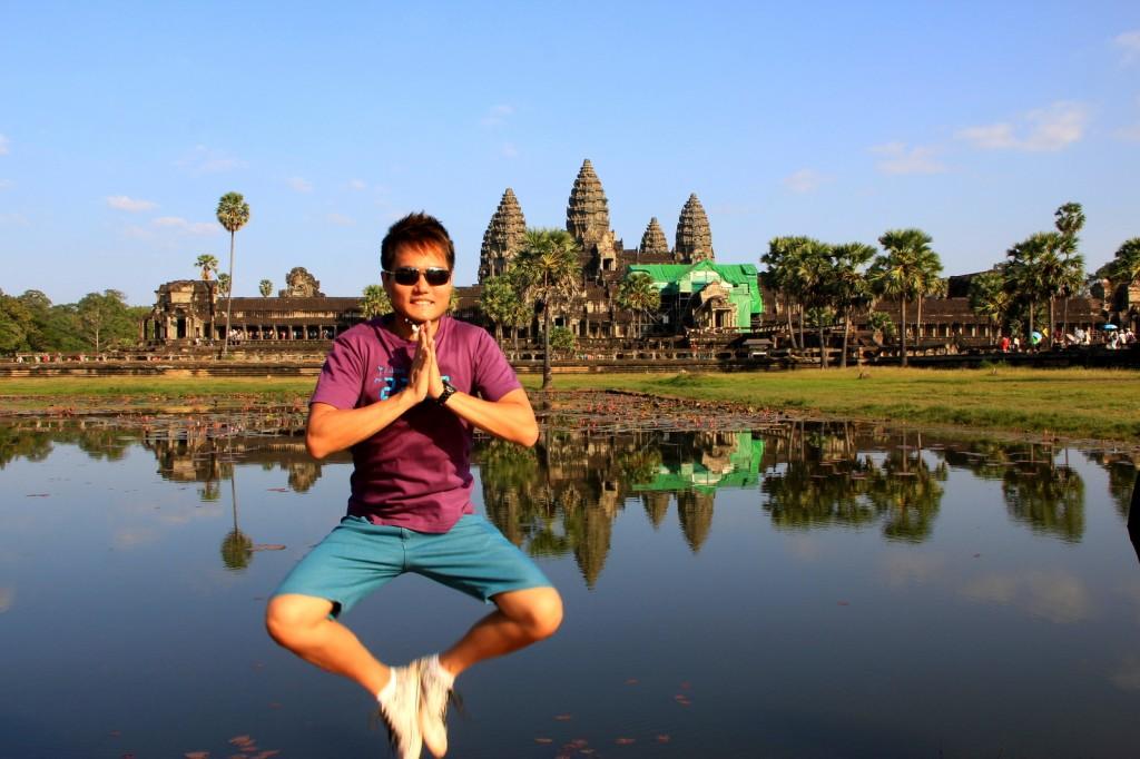 Buddha jump at AngKor Wat, Siem Reap, Cambodia