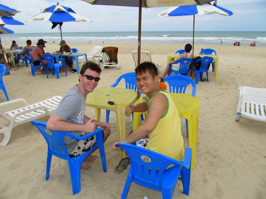 Enjoying our drinks at Fortaleza, Brazil