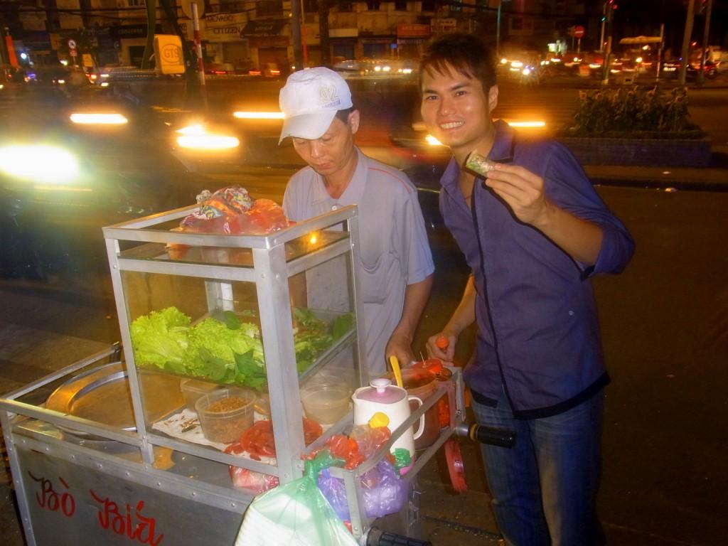 Eating paper springroll in Ho Chi Minh City, Vietnam