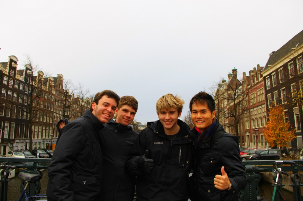 With Gustavo (Brazilian), Will and Dalton (Aussie) in Amsterdam, Netherlands