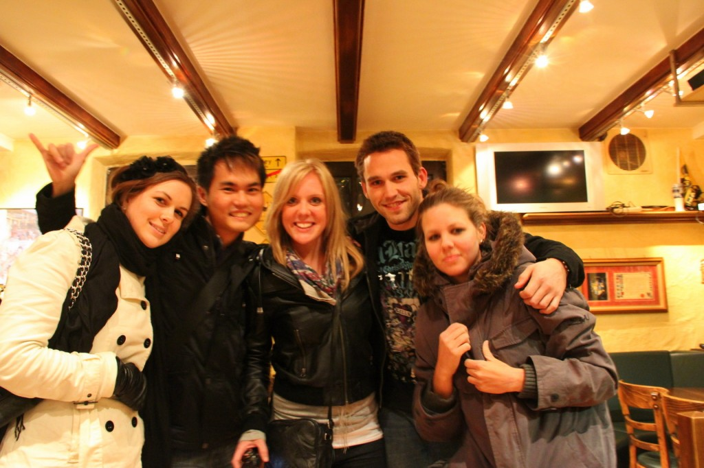 With Amy, Carley, Sarah (Aussie) and Haydn (New Zealander) in Germany