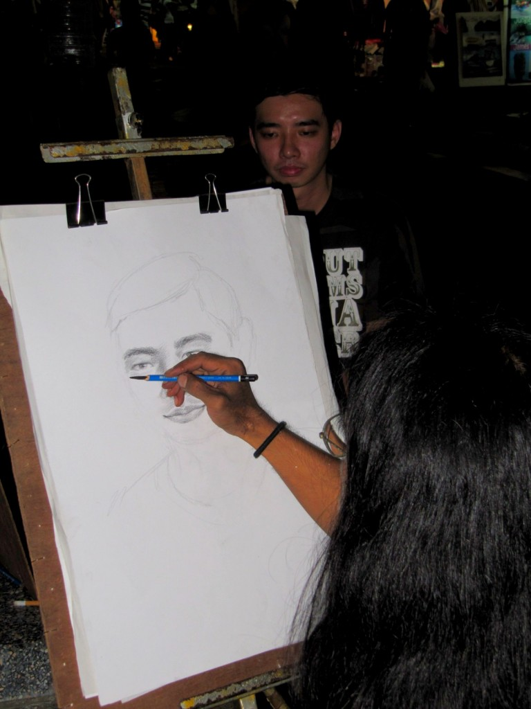 Wilson getting a portrait drawing!