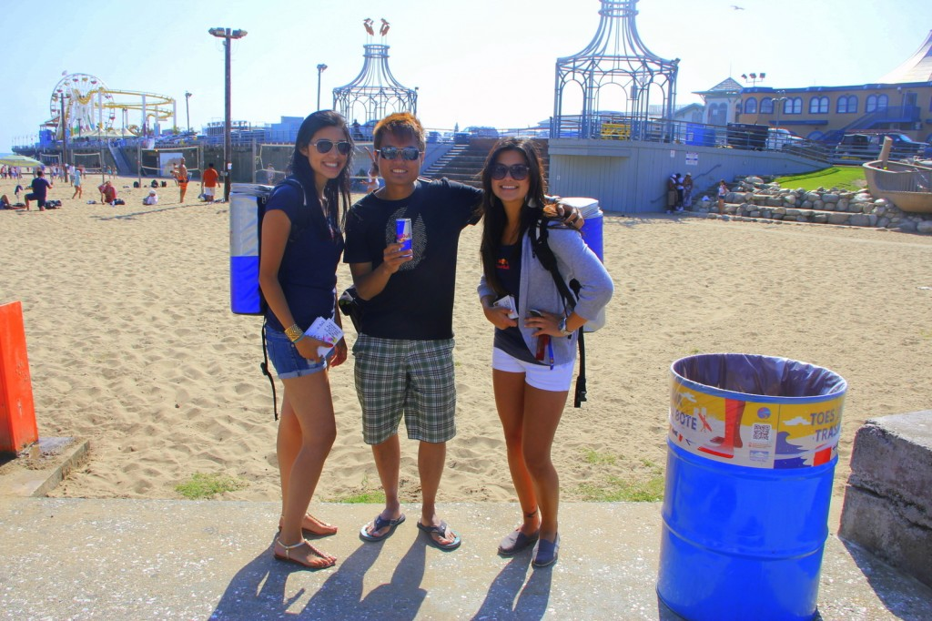 With 2 American Redbull Girls in Santa Monica, USA