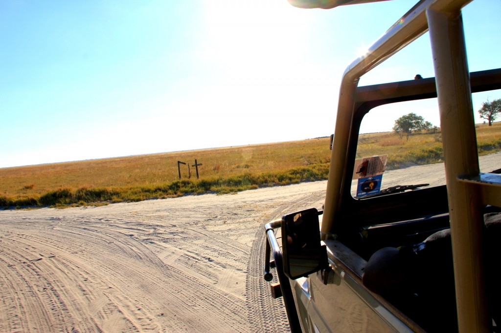 Driving inside the the Makgadikgadi Pan