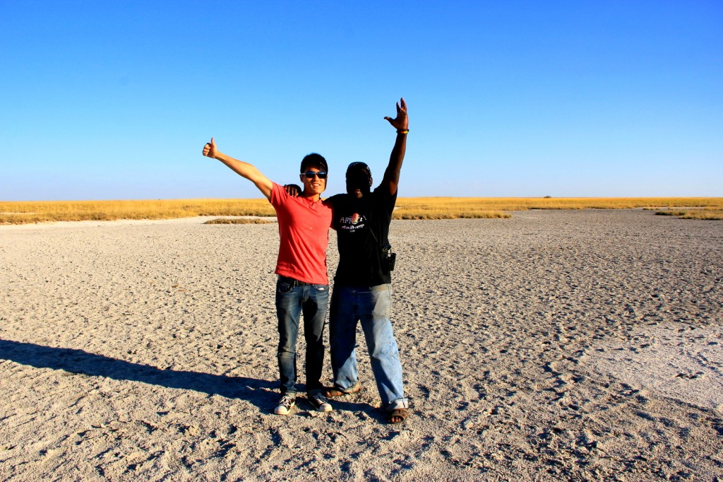 With Timon Chanyuka (South African) at the Makgadikgadi Pan