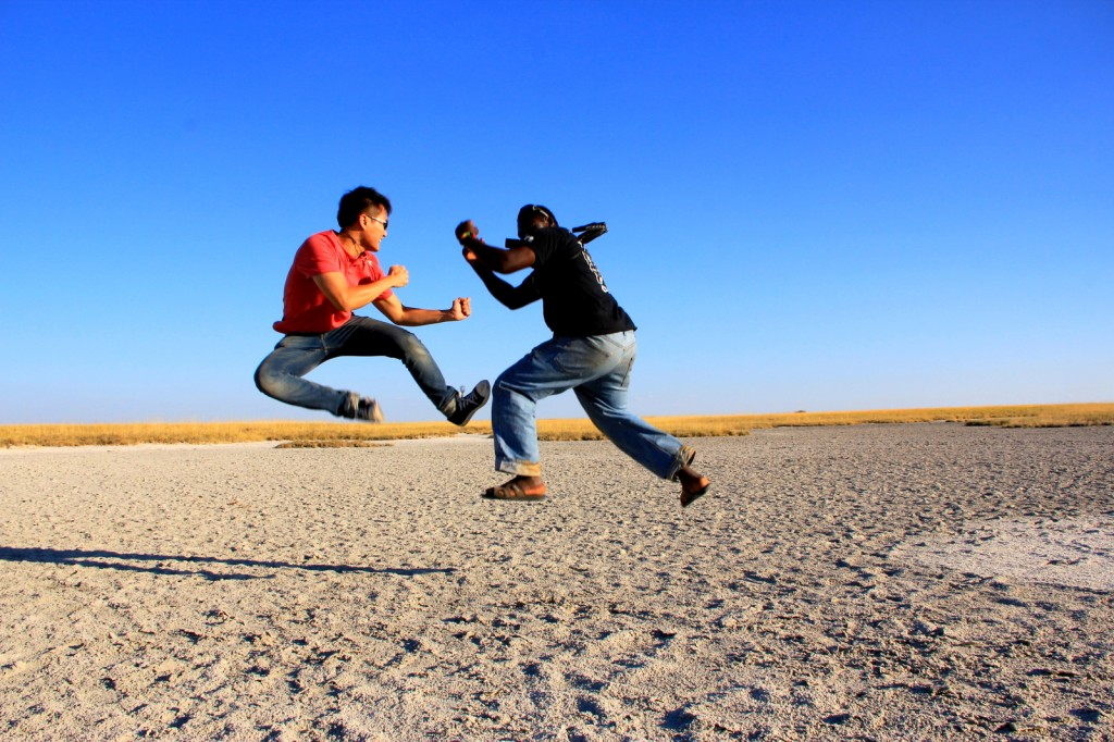 Fighting Jumpshot with Timon Chanyuka (South African) at Makgadikgadi Pan