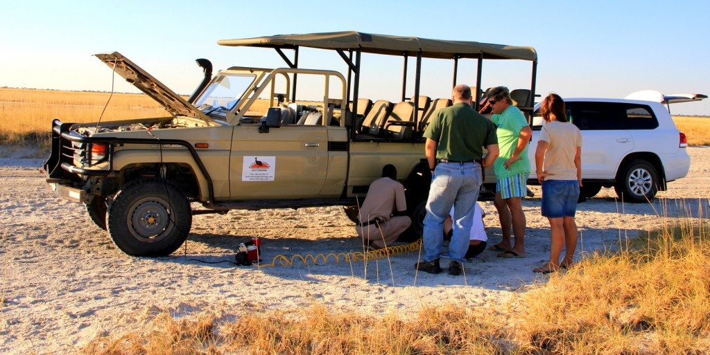 Car stuck in Makgadikgadi Pan