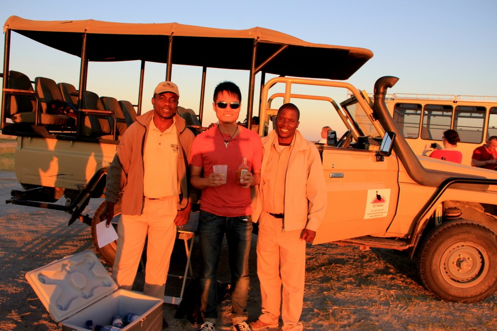 Relaxing drinks with beautiful view in the middle of Botswana Safari