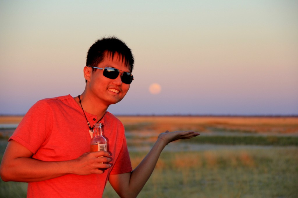 The Moonrise while facing the Sunset (reflected from my shades)