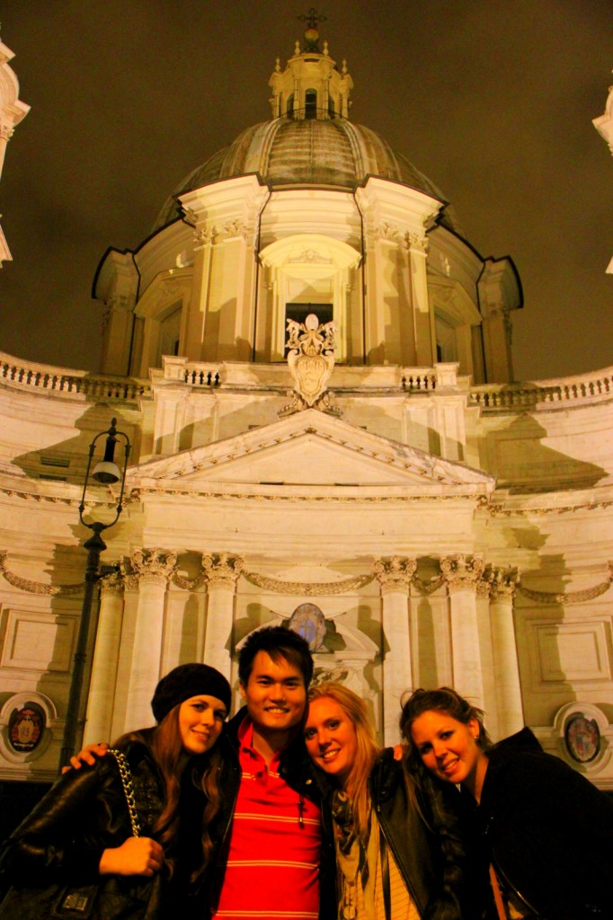 With Amy, Carley and Sarah (Aussie) in Rome, Italy