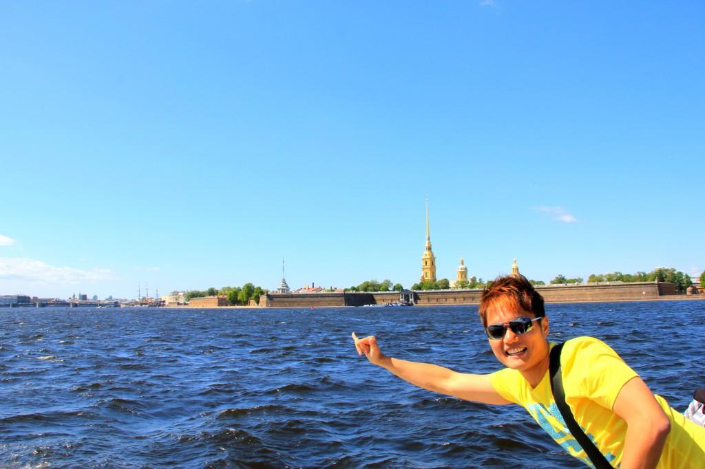 Enjoying the cruise at St Petersburg