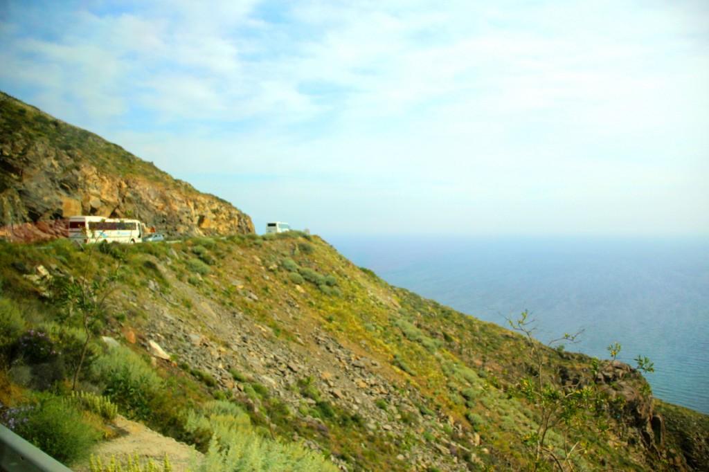 Driving around in Santorini - cliffside road