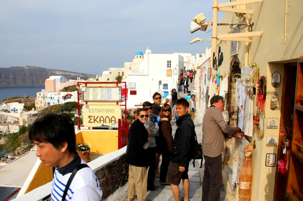 Busy and charming street of Oia