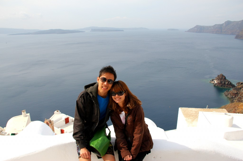 Very romantic isn't it? Brother Ryan and his wife Ashley at Oia