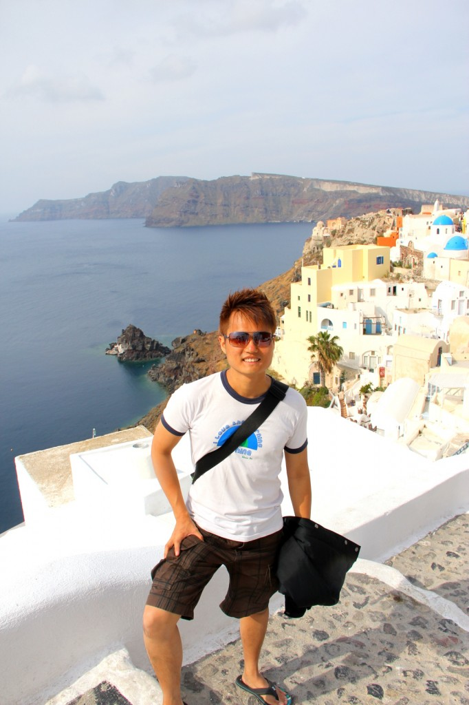 Admiring the serenity of Oia