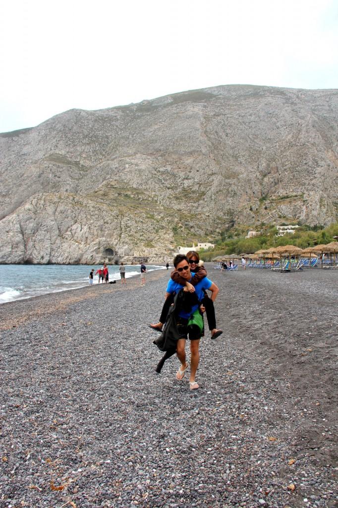 Brother Ryan and Ashley doing their romantic K Drama on Kamari beach