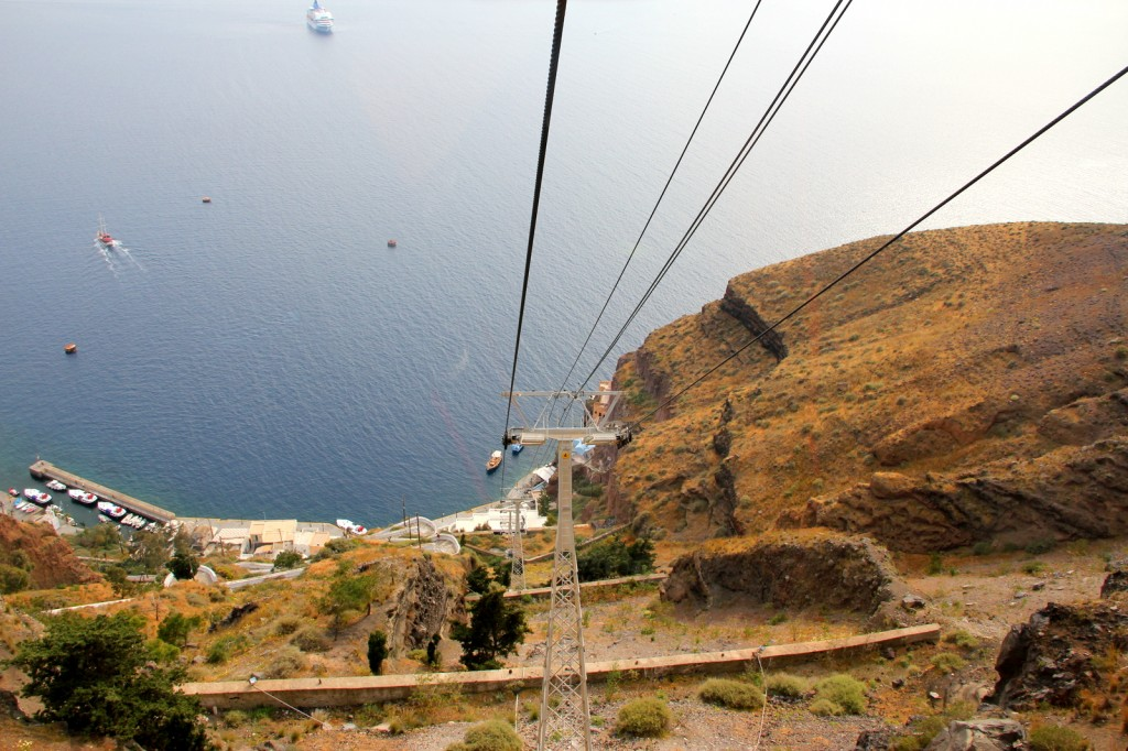 Scary cable car ride from Fira to Port