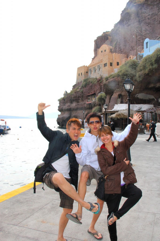 Crazy after the cable car ride at Fira port