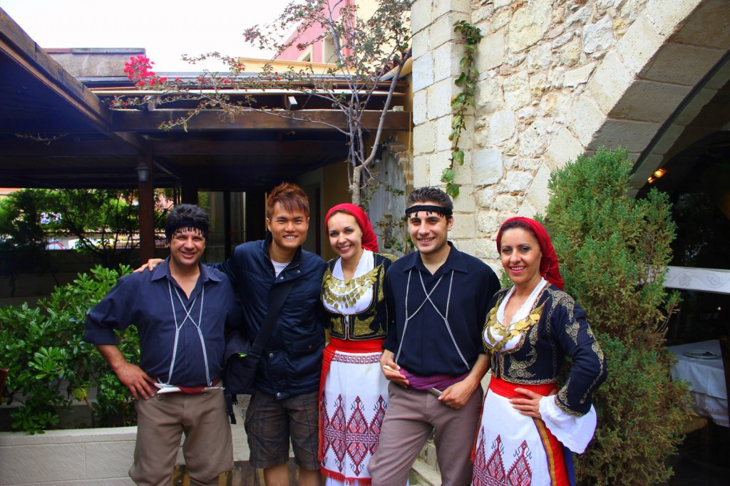 Dancing with Greek dancers at Crete, Greece