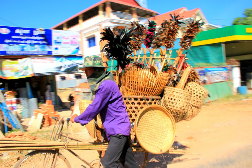 Cambodian man selling feather duster