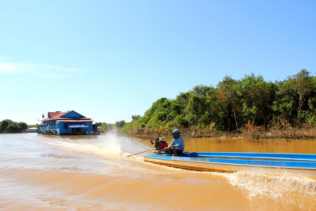 Sailing towards Tonle Sap Floating Village