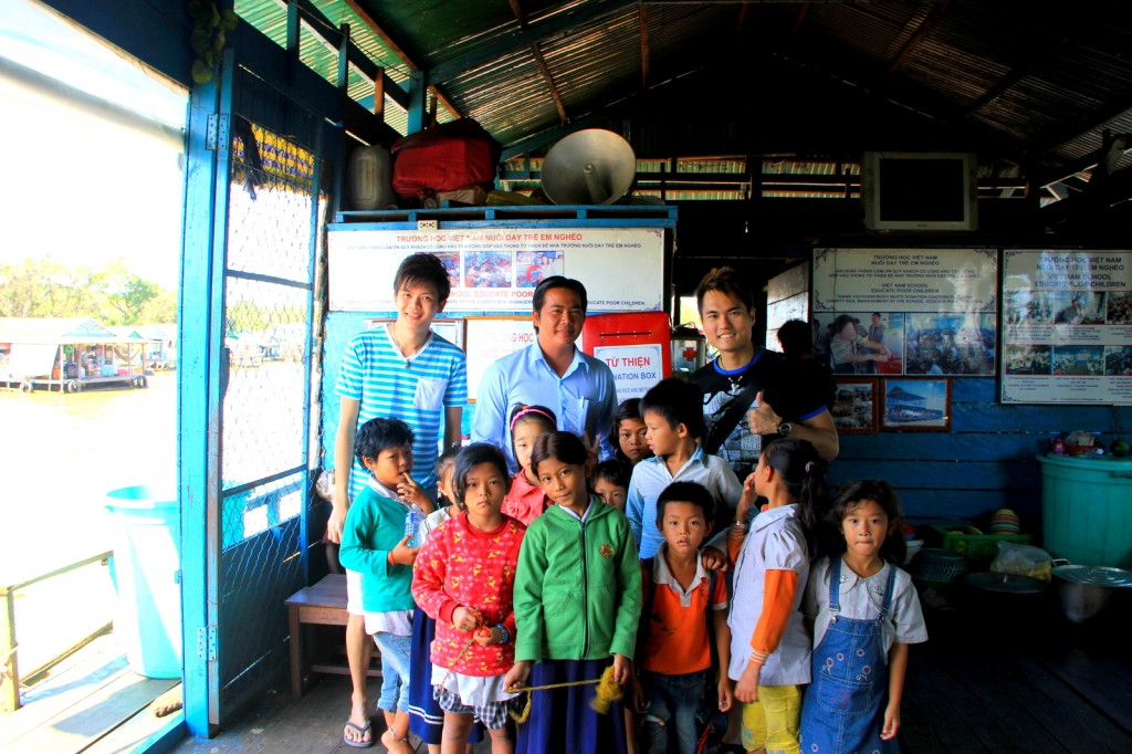 With the principal and the children