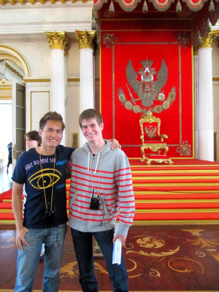 With Canadian Friend at Armorial Hall at Winter Palace