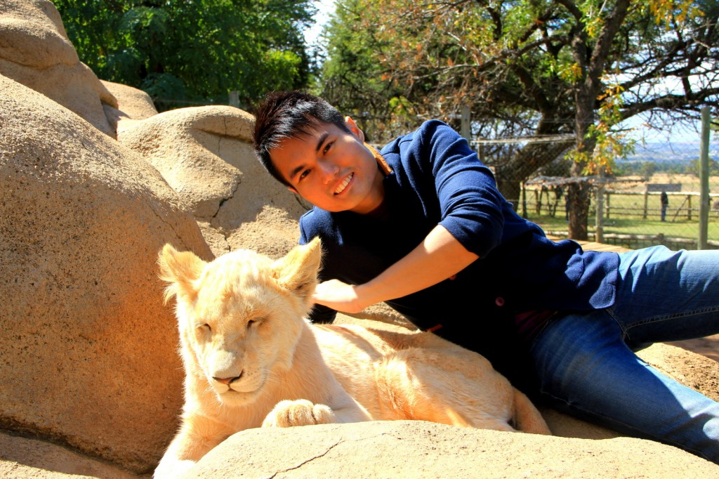 With a lionness in South Africa