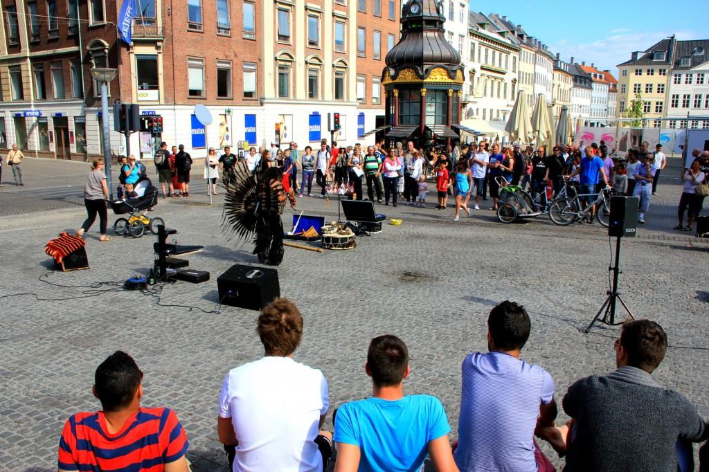 Street entertainer at Stroget, Copenhagen shopping district