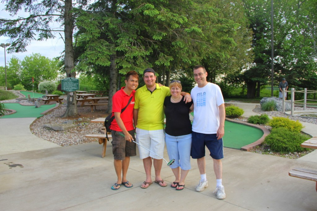 Mini golf in Canada with Jordan's family