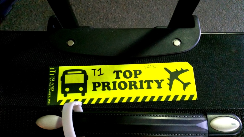 Top priority tag gives you first priority to exit and claim your baggage