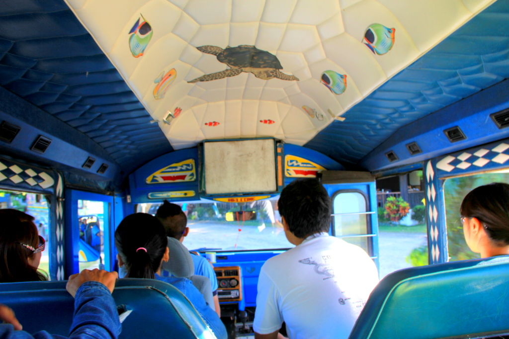Interior of the Jeepney to the arrival hut