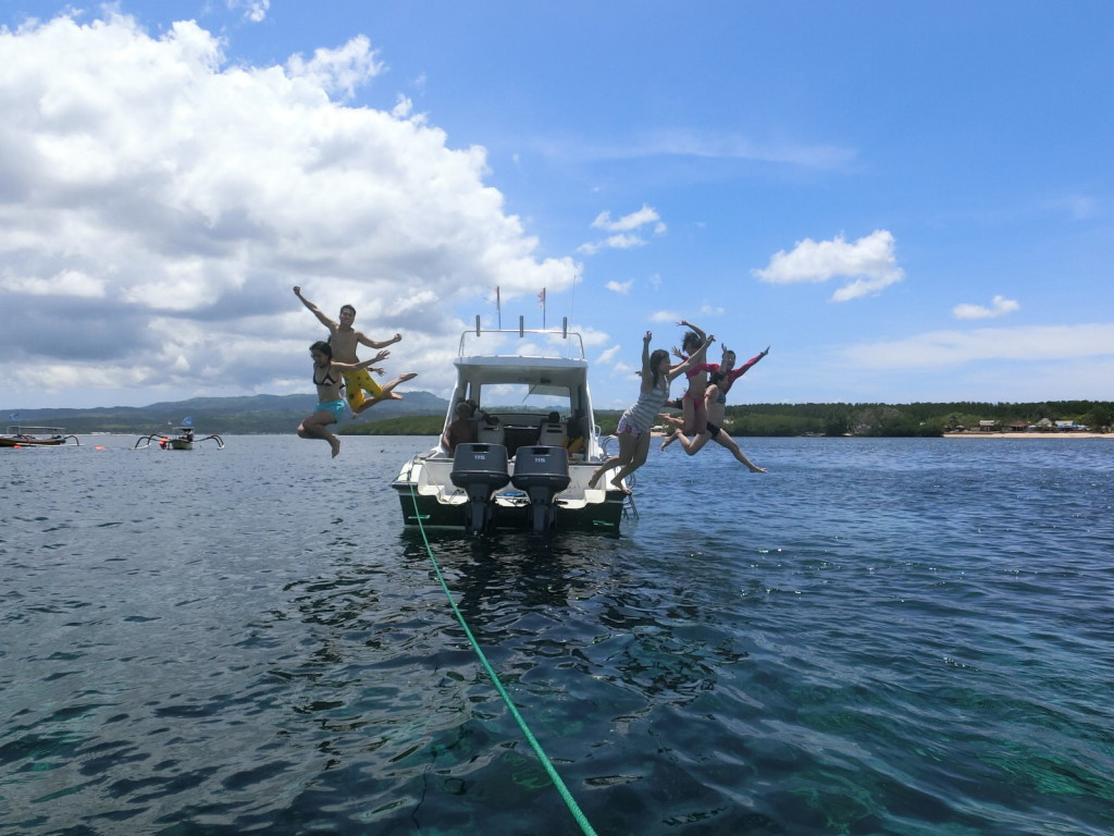 This shot looked like we had to escape from the boat fast! haha
