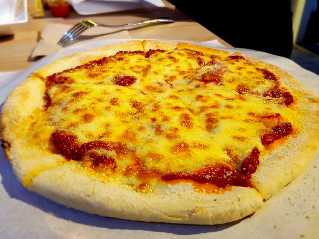 3 different cheese: Cheddar, Mozzarella, & Parmesan Cheese Pizza