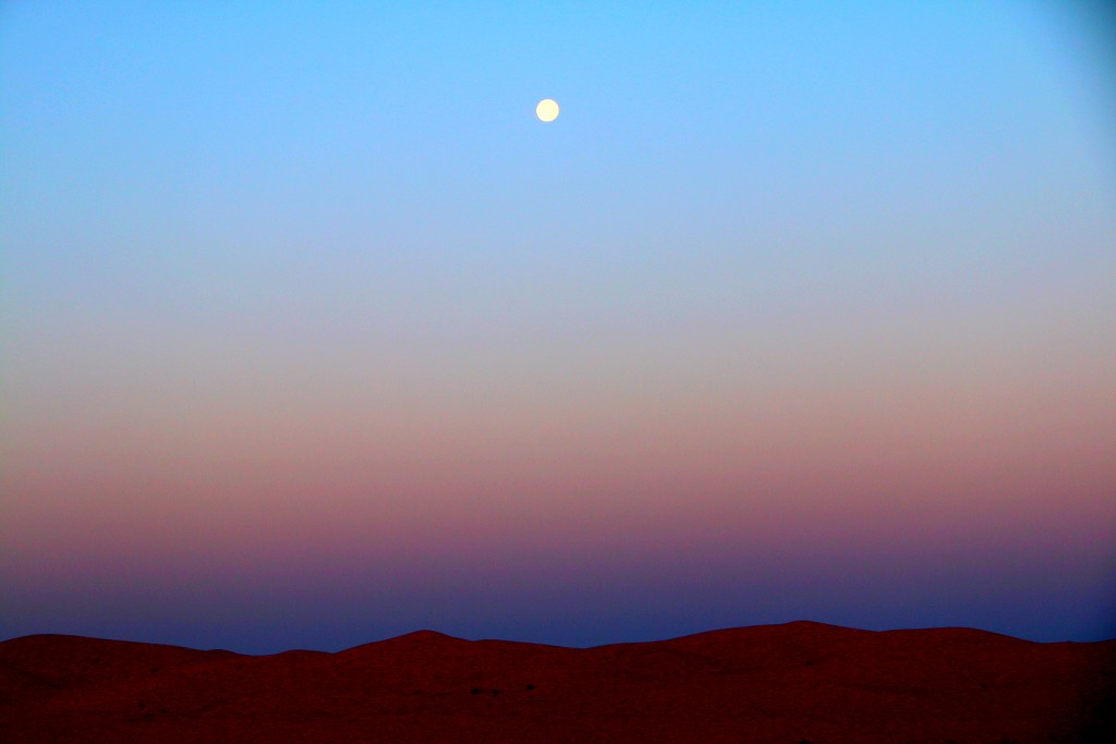 The moonrise at the Great Sahara Desert! :-)
