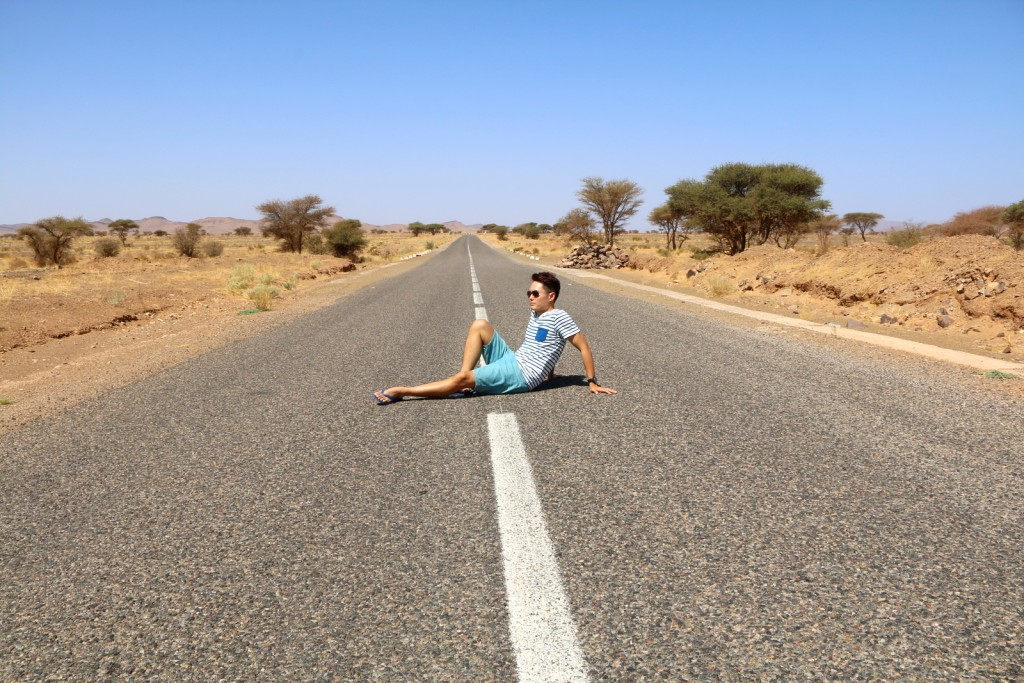Too tired from a long drive back to Marrakesh, decided to take a break in the middle of the road! :-)
