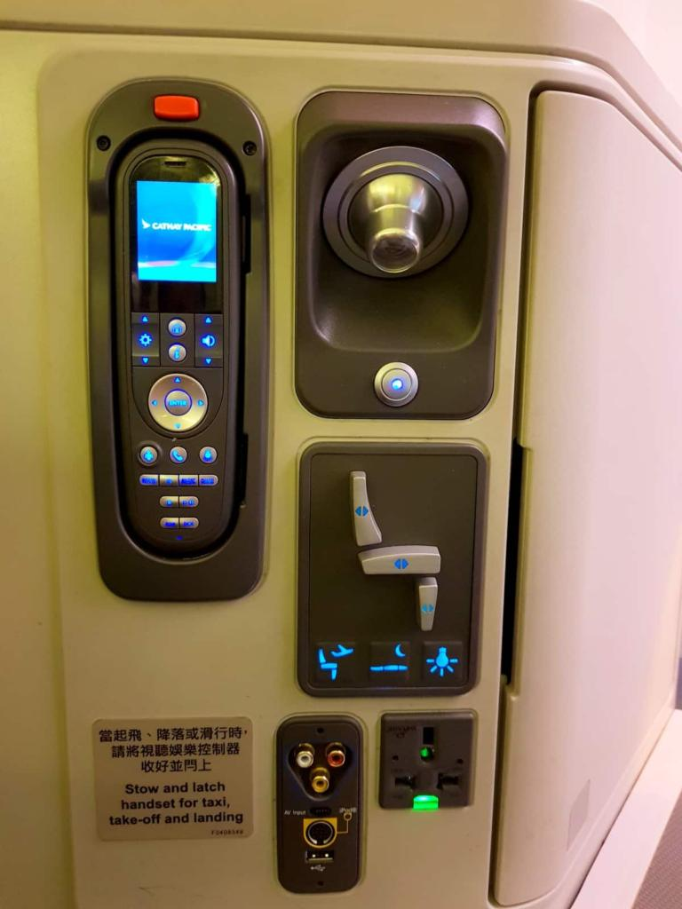 Cathay Pacific Business Class Automated Controls and Power Connections